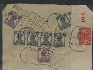 DUBAI COVER (PP0101B)  1942 CENSORED BACK OF COVER 3PX6+1/2A+1 1/2A FROM DUBAI