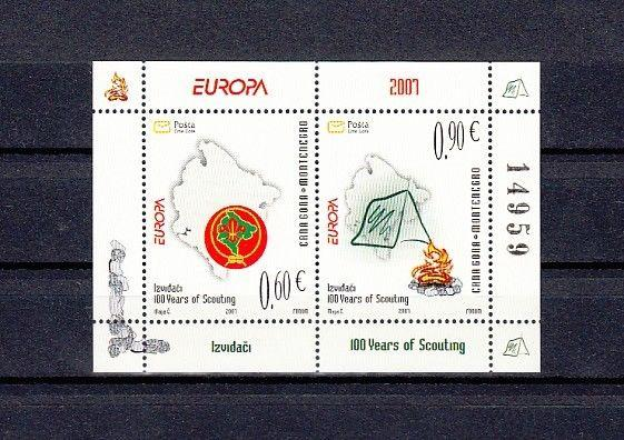 Montenegro, Scott cat. 158a. Centenary of Scouting s/sheet.