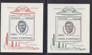 Congo Dem. Rep.# 591-592, John F. Kennedy Perf & Imperf sheets, NH, 1/2 Cat.