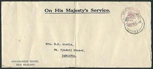 NEW ZEALAND 1931 OHMS cover GOVERNMENT HOUSE frank ex Wellington...........37700