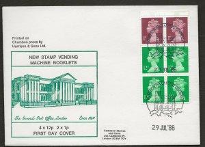 29/7/1986 NEW 50p ROMAN  -NEW STAMP VENDING MACHINE BOOKLET