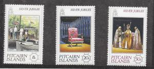Pitcairn Islands, 160-62, Silver Jubilee 1977 Singles, MNH