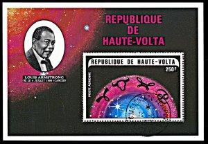 Upper Volta C176, CTO, Louis Armstrong and Zodiac Symbols souvenir sheet