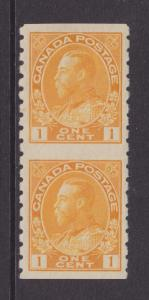 Canada Uni 126a MLH. 1924 1c KGV Admiral, Coil Pair Imperf Between