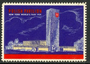 USA / POLAND NEW YORK WORLD'S FAIR 1939 POLISH PAVILION Label MH