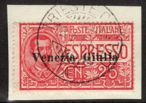 1918 Austria Venezia Giulia O/P occupation Italy issue on piece Sc# NE1 signed