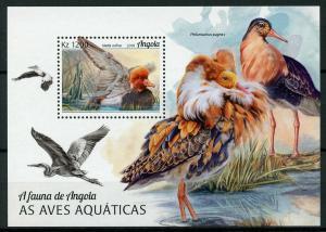 Angola 2018 MNH Water Birds Seabirds Pochard Ruff 1v M/S Waders Ducks Stamps