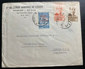 1948 Damascus Syria agricultural Union Cover To London England Fiscal Stamp