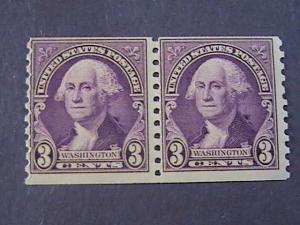 U.S.# 721-MINT/NEVER HINGED---COIL PAIR---PURPLE---WASHINGTON---1932