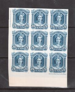 Newfoundland #31P Extra Fine Imprint Proof Block Of Nine India Paper On Card