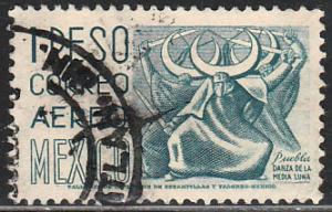 MEXICO C220Gp, $1P 1950 Definitive 2nd Ptg wmk 300 PERF11 1/2X11 USED.VF (1382)