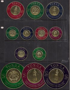 Tonga 1963 QE2 12 Mixed Values to 2/9d Koula Coins MM SG 129 - 140 ( B967 )