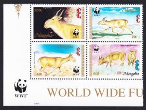 Mongolia WWF Saiga Bottom Left Block of 4 with WWF Logo SG#2497-2500