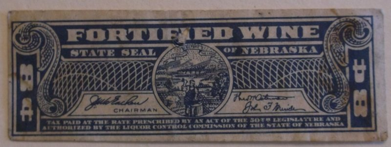 United States State Revenue Nebraska Fortified Wine Tax 8 Cents Used