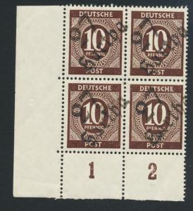 GERMANY - SOVIET ZONE  HARTHA BEZIRK 27  1948, 10pf BLOCK VF NH