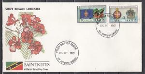 St. Kitts, Scott cat. 364-365. Girl`s Brigade Centenary issue. First day cover.*