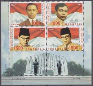 2002 Indonesia 2199-2202VB+Tab100th Anniversary of Bung Hatta