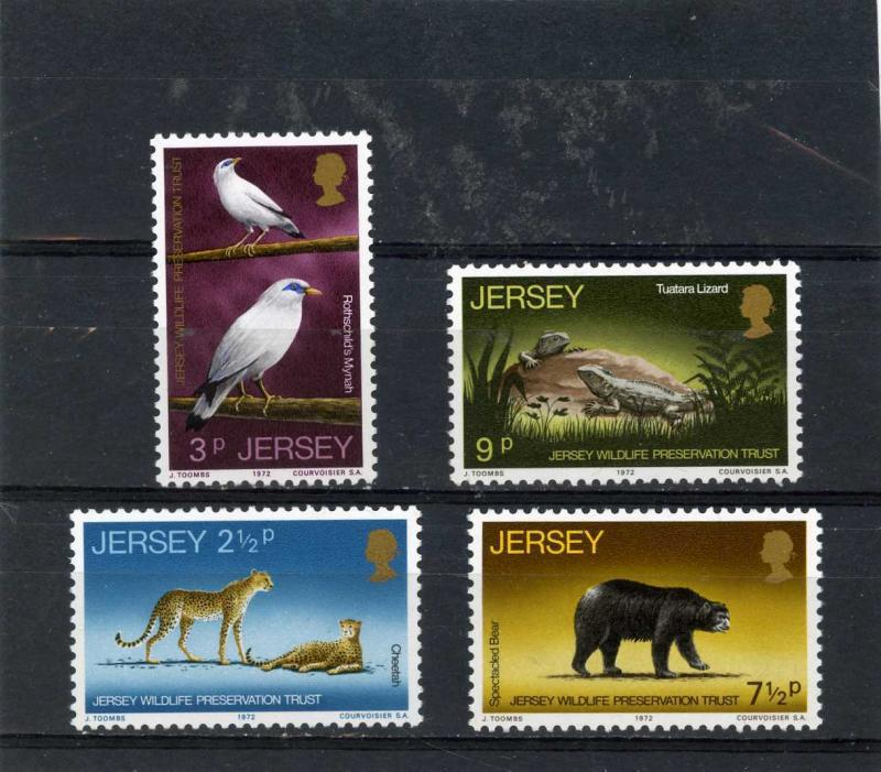 JERSEY 1972 Sc#65-68 WILD ANIMALS/BIRDS SET OF 4 STAMPS  MNH