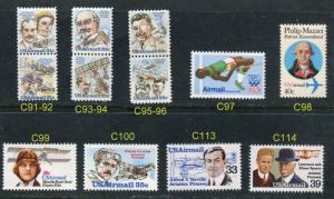 US Scott #C91-C100 C113 C114  Airmail Commemorative's 12 DIFFERENT MNH