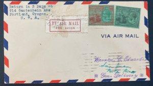 1929 Trinidad & Tobago Early Airmail Cover To San Juan Puerto Rico
