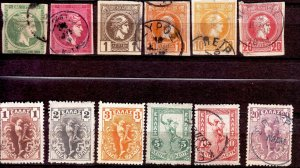 Greece - #53,56,90,93a,93,94,165/170-1880-VFU-thining on some stamps - CV$40.00