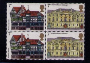 Great Britain Sc #741a MNH BLOCK OF TWO PAIRS Sc 740/741 x2  UK Famous Buildings