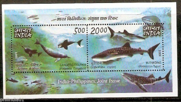 India 2009 Philippines Joint Issue Whale Dolphin Marine Mammals Sc 2374c M/s MNH