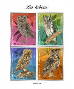 C A R - 2021 -Owls - Perf 4v Sheet - Mint Never Hinged