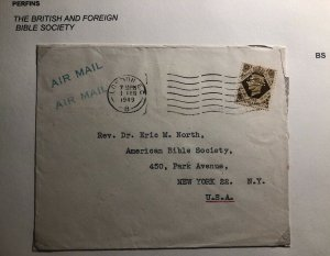 1949 London England British Bible Society Airmail Cover To New York Usa