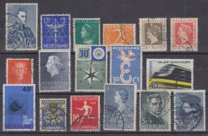 Netherlands Sc 199/B89 used. 1933-1963 issues, 17 diff better singles, F-VF