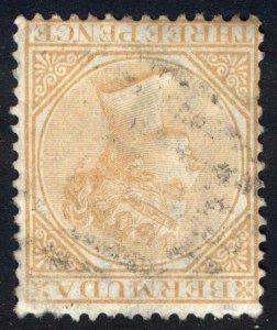 Bermuda 1873 3d Yellow Buff WMK CC INVERTED SG 5aw Scott 3wi VFU Cat £300($393)
