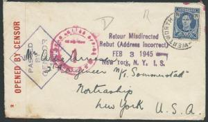 AUSTRALIA 1945 censor cover to USA - returned Misdirected..................39778