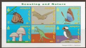 MONGOLIA SGMS2950a 2001 SCOUTING/NATURE SHEETLET MNH