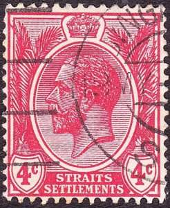 MALAYA STRAITS SETTLEMENTS 1921 KGV 4c Carmine-Red SG222 Used