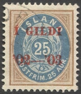 ICELAND 1902  Sc 48  25a Used Red Overprint VF