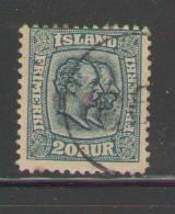 Iceland Sc 79 1907 20a 2 Kings stamp used