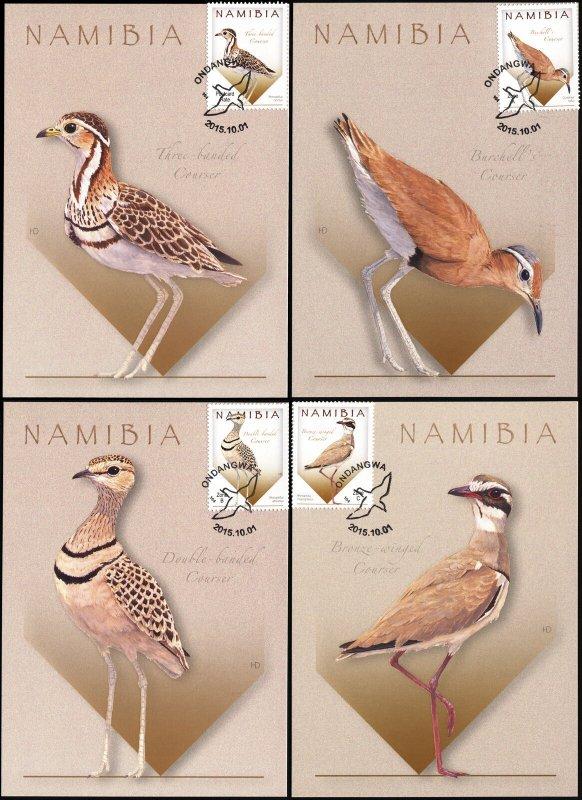 Namibia. 2015. Coursers of Namibia [Rhinoptilus] (Mint) Set of 4 Maxi Cards