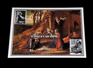 TURKS & CAICOS, #618, 1984, EASTER, SOUVENIR SHEET, MNH, NICE LQQK