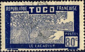TOGO - 1938 -Yv.155 / Mi.89 80c bleu-foncé & lilas - Oblitéré TB