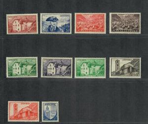 Andorra-French Sc#114-123 M/H/VF, Cv. $122.15