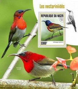 Niger - 2019 Sunbirds on Stamps - Stamp Souvenir Sheet - NIG190313b