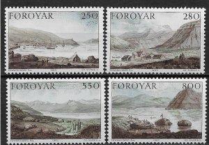 1985 Faroe Islands 121-4 Dayes' Landscapes MNH C/S SCV$7.00