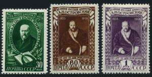 Russia 1227-1229,hinged.Michel 1217-1219. Aleksandr N.Ostrovski,Playwright,1948.