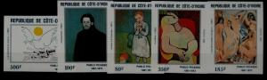 Ivory Coast 646-50 MNH imperf. Painting/Picasso