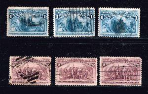 US STAMP #230-1 1893 1-2¢ Columbian Commemorative USED STAMPS  COLLECTION LOT