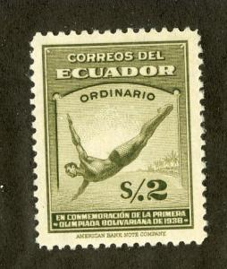 ECUADOR 381 MH SCV $12.50 BIN $5.00 OLIMPICS DIVER