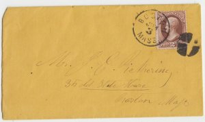 BOSTON MA - 2 ct Jackson COVER / 1880s / Scott 146 / CORK CANCEL