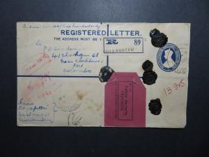 India 1941 Registered / Insured Cover to Ceylon / Light Fold - Z11627