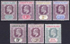 Leeward Is 1905 1/2d-1s EVII Key Plt SG 29-35 Scott 29-37 LMM/MLH Cat £200($270)