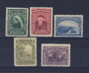 5x Newfoundland  MH Stamps #61 to #65 Guide Value = $34.50